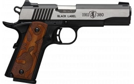 Browning 051-950492 1911 380 BLKLBL 3D 4.25 MED BM Grip