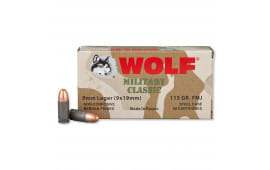 Wolf 9mm 115gr FMJ Ammo, Military Classic - 500rd Case