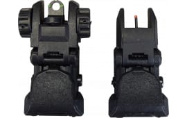 AR-15 Sight Set - Polymer Flip-up Front and Rear Sight with Fiber Optic Inserts.  - Black