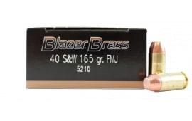 CCI Blazer Brass 40 S&W 165gr FMJ Ammo, 5210 - 1000rd Case
