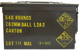 Malaysian 7.62 NATO/.308 147gr FMJ Ball Ammo - 540rd Can
