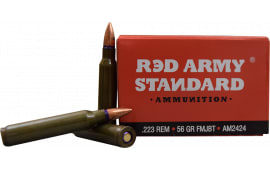 Red Army Standard .223 Rem 56gr FMJBT Lead Core Ammo, Non-Corrosive - 1000rd Case