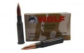 Wolf Military Classic, 7.62X54R 148gr Non-Corrosive FMJ Ammo - 20rd Box