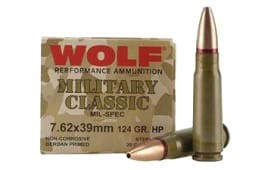 Wolf Military Classic 7.62x39 124gr HP Ammo - 1000rd Case