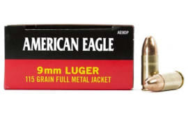 American Eagle 9mm 115 GR FMJ Ammo AE9DP - 50rd Box