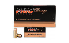 PMC 40B Jacketed Hollow Point Bronze .40 Smith & Wesson 1000 Round Case - 165 GR Jacketed Hollow Point, Personal Defense Ammunition -1000 Round