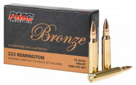 PMC 223A 1000 Rd Case, Bronze Target 223 Remington, FMJ Boat Tail 55 GR - Brass, Boxer, N/C, Re-loadable - 1000 Rounds