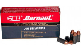 Barnaul .40 S&W Luger Case, FMJ 165 Grain, Non-Corrosive, Poly-Coated Steel Case, 50 Rounds / Box - 500 Round Case