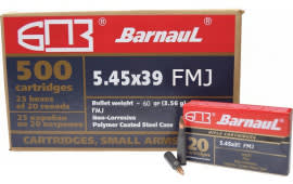Barnaul 5.45x39 - 60 Grain FMJ Boat Tail Ammo - Steel Polycoated Casing - 20 Rounds/Box - 500 Round Case