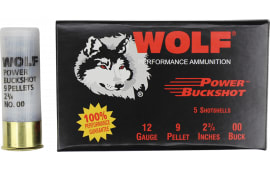 "Wolf Power Buck Shot 00 Buck 9 pellet 12 Gauge, 2-3/4"",100 Rounds Per Case"