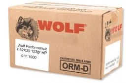 Wolf Performance 7.62x39 1000 Round Case - 123 GR Hollow Point Ammo, Steel Case, Non Corrosive - 1000 Rds.