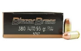 CCI Blazer Brass .380 ACP 95 GR FMJ Ammunition 5202 - 50rd Box