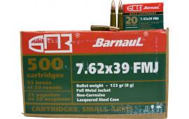 Barnaul 762X39FMJ123, 7.62x39, 123-Grain FMJ, 500rd Case - Non Corrosive