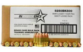 Independence 9mm 115 GR FMJ Ammo - 500rd Bulk Pack