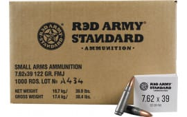 Red Army Standard 7.62x39 122 GR FMJ Ammo, Non-Corrosive - 1000 Round Case - AM3092