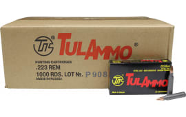Tula .223 Remington 1000 Round Case - 55 GR Full Metal Jacket Centerfire Rifle Ammunition, Non-Corrosive - 1000 Rounds - Tulammo TA223550
