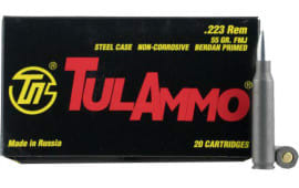 Tula .223 Remington 55 GR Full Metal Jacket Centerfire Rifle Ammunition, Non-Corrosive - 20 Rds / Box - 100 Round Qty