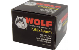 Wolf Performance 7.62x39 123 GR Ammo, FMJ Non Corrosive - 20rd Box