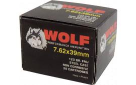 Wolf Performance 7.62x39 123gr Ammo, FMJ Non Corrosive - 20rd Box