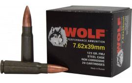 Wolf Performance 7.62x39 123 GR Ammo, FMJ, Non Corrosive - 1000 Round Case