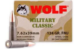 Wolf MC762BFMJ Military Classic 7.62x39 124 GR FMJ Ammo - 1000 Round Case - Non-Corrosive