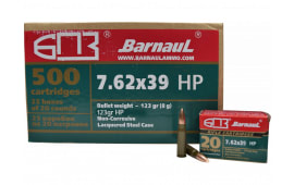 Barnaul 762X39HP123, 7.62x39, 123-Grain Hollow Point, 500rd Case - Non Corrosive