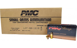 PMC 9B Bronze 9mm Jacketed Hollow Point 115 GR, Brass, Boxer, Re-Loadable Defensive Ammunition - 1000rd Case