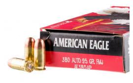 American Eagle .380 ACP 95 GR FMJ Ammunition- 50 Rd Box- AE380AP