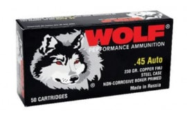 Wolf 45FMJ Handgun 45 ACP 230 GR Full Metal Jacket 500 Total - 500rd Case