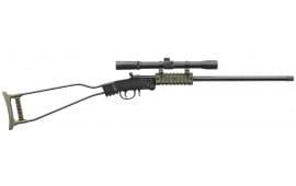 """Chiappa """"Little Badger"""" Break-Open Survival Rifle 16.5"""" Threaded Barrel w/ 4X20 Scope Included Black / OD Green - 500232"""