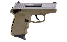 SCCY CPX-1 TTDE 9mm Polymer Frame Pistol w/ Safety, Satin Stainless Slide on Dark Earth, DAO 10+1 w/ 2 Mags