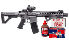 Crosman DPMS SBR Full-Auto W/ Red Dot Optic, CO2 Powered .177 Caliber, Stealth Grey BB Gun W/ Free Shooters Package