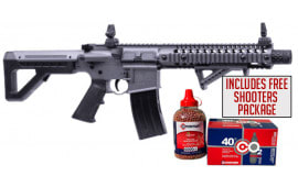 Crosman DPMS SBR Full Auto, CO2 Powered .177 Caliber, Stealth Grey BB Gun W/ Free Shooters Package