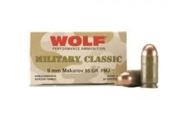 Wolf Military Classic 9x18 Makarov 94gr FMJ Ammo - 50rd box