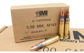 IMI 5.56x45 Caliber 55gr M193 FMJBT Ammo - 1200rd Case