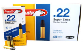 Aguila 22LR 40 GR Super Extra Standard Velocity, Solid Point Ammo - 500rd Brick