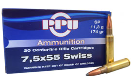 Prvi Partizan 7.5mm Schmidt-Rubin (7.5 x 55 Swiss) 174 Soft Point Ammo - 20rd Box