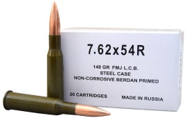 Russian 7.62X54R 148 GR Non-Corrosive FMJ Ammo by Wolf - 20rd Box