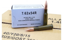 Wolf Performance 7.62X54R Ammunition, 148 GR FMJ, Non-Corrosive Steel Cased, Coated - 500 Round Case