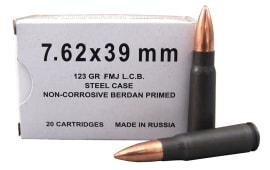 Wolf 7.62x39 White Box Ammo, FMJ Non Corrosive - 1000rd Case