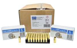 STV Technology Scorpio Ammunition AS9A 9mm Luger 124 GR FMJ, Brass, Boxer, Reloadable - New Production - 1000rd Case