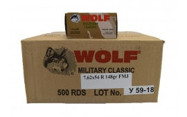 Wolf Military Classic 7.62X54R, 148 GR Non-Corrosive FMJ Ammo - 500rd Case