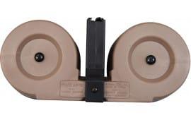 Gen II AR-15 / M16 100 Round Dual Drum Magazine .223/5.56 With Reinforced Feed Lips in Desert Tan