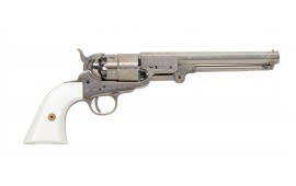 Traditions FR185117 1851 Navy Engraved .44 Cal Black Powder Revolver, Nickel - No FFL Required.