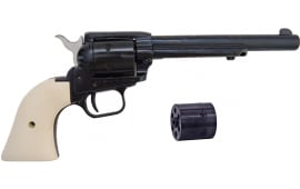 """Heritage Rough Rider Revolver - .22 LR / .22 Mag Combo, 6.5"""" Blued with Custom White Grips"""