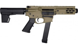 "Brigade MFG BM-9 Billet Receiver 9mm AR Pistol 5.5"" BBL 5"" U-Rail, FDE Cerakote Finish, M-2 Adjustable KAK Brace - W / 1-33 Rd O.E.M. Glock Magazine & Shooters Package"
