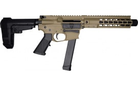 "Brigade MFG BM-9 Billet Receiver 9mm AR Pistol 9"" Barrel 8"" U-Rail, Flat Dark Earth Cerakote Finish, SBA3 Adjustable Pistol Brace - W / 1-33 Rd O.E.M. Glock Magazine & Shooters Package"