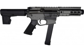 "Brigade MFG BM-9 Billet Receiver 9mm AR Pistol 5.5"" BBL 5"" U-Rail, Tungsten Grey Cerakote Finish, M-2 Adjustable KAK Brace - W / 1-33 Rd O.E.M. Glock Magazine & Shooter's Package"
