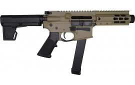 "Brigade MFG BM-9 Forged 9mm AR Pistol 5.5"" BBL 5"" U-Rail, FDE Cerakote Finish, M-2 Adjustable KAK Pistol Brace  - W / 1-33 Rd O.E.M. Glock Magazine & Shooter's Package"