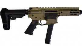 "Brigade MFG BM-9 Forged 9mm AR Pistol 5.5"" Barrel 5"" U-Rail, FDE Cerakote Finish, SBA3 Adjustable Pistol Brace - W / 1-33 Rd O.E.M. Glock Magazine & Shooters Package"